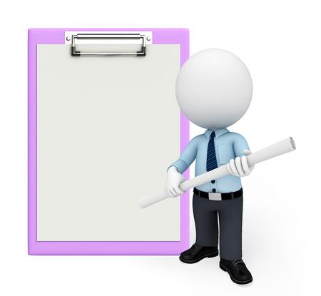 Illustration of service man with notepad illustration