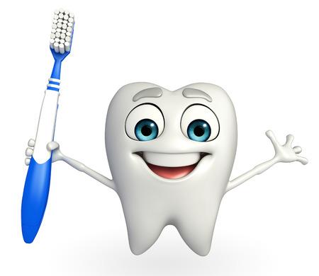 Personnage de dessin animé de dents avec une brosse à dents Banque d'images - 31140276