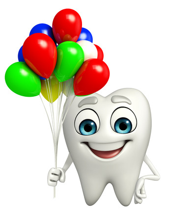 Cartoon character of teeth with Balloon Фото со стока