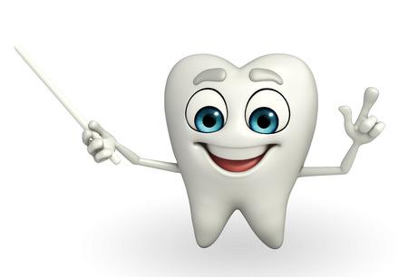 Cartoon character of teeth is pointing