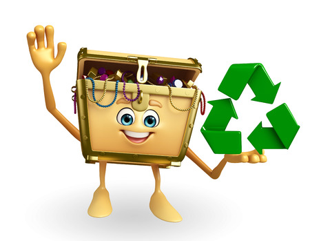 thesaurus: Cartoon Character of Treasure box with recycle icon Stock Photo