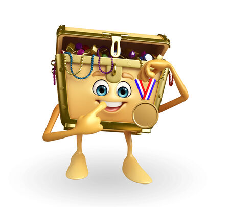 thesaurus: Cartoon Character of Treasure box with gold medal