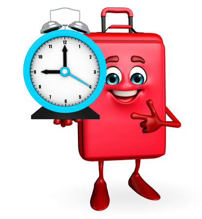 Cartoon Character of Travelling Bag with table clock photo
