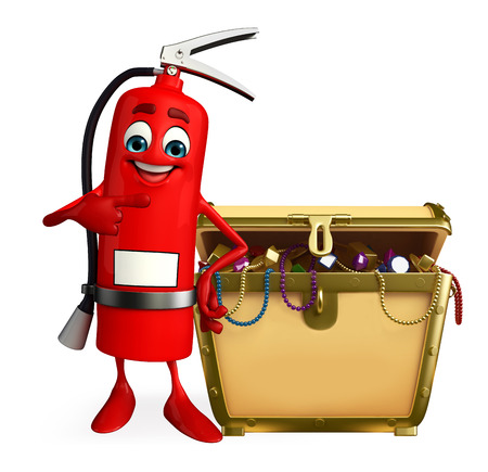 Cartoon Character of fire extinguisher with treasure box photo