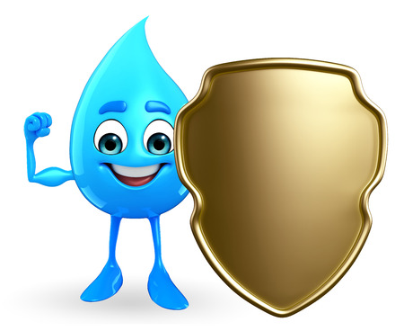 cooled: Cartoon Character Of Water Drop with shield  Stock Photo