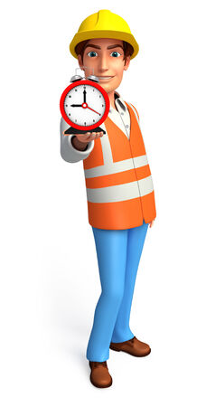 Illustration of young worker with table clock illustration