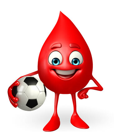 drop of blood: Cartoon Character of Blood Drop with football