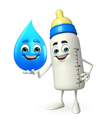 teat: Cartoon Character of baby bottle with water drop