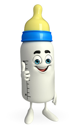 teat: Cartoon Character of baby bottle with thumps up pose