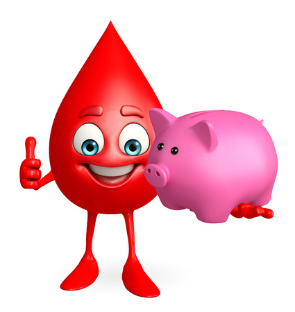 deposite: Cartoon Character of Blood Drop with piggy bank Stock Photo