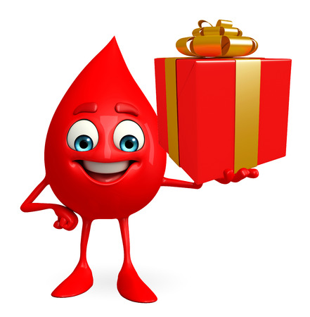 Cartoon Character of Blood Drop with gift box Archivio Fotografico