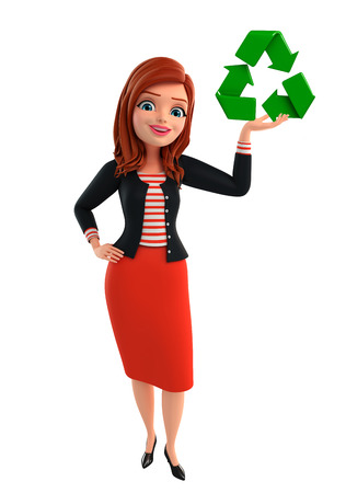 Illustration of corporate lady with recycle icon illustration