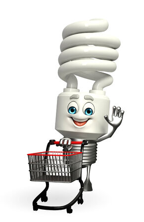 Cartoon Character of CFL with trolley