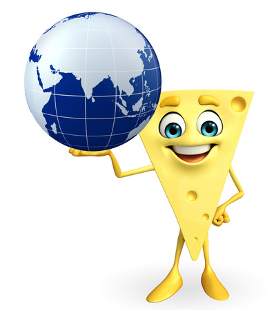 toughness: Cartoon Character of Cheese with globe Stock Photo