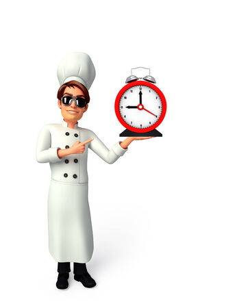 Illustration of young chef with table clock illustration