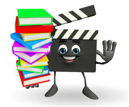 publisher: Cartoon Character of Clapper Board with pile of books