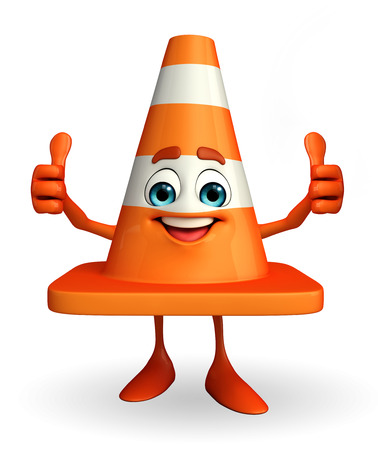 road works ahead: Cartoon Character of Construction cone with best sign