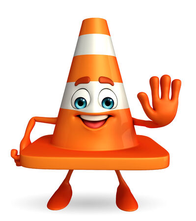 road works ahead: Cartoon Character of Construction cone with stop pose