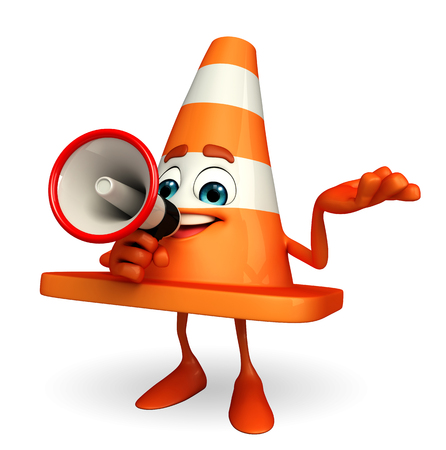 road works ahead: Cartoon Character of Construction cone with loudspeaker