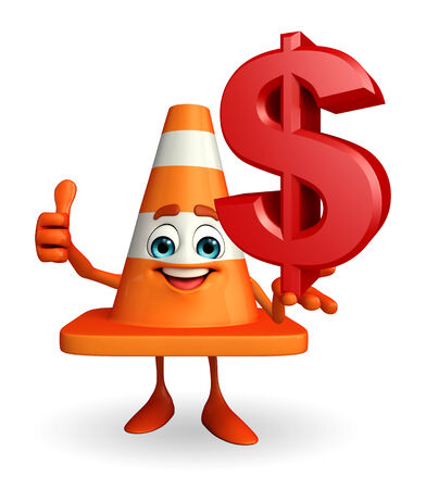road works ahead: Cartoon Character of Construction cone with dollar sign Stock Photo