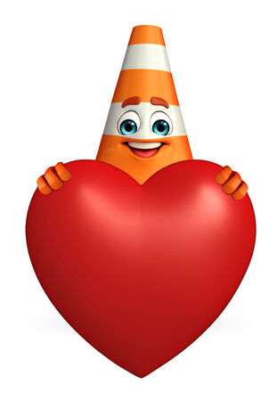 road works ahead: Cartoon Character of Construction cone with heart