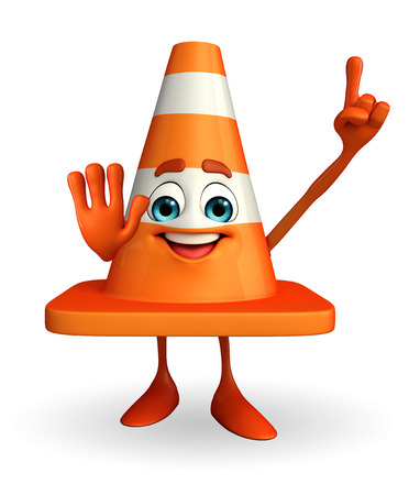 road works ahead: Cartoon Character of Construction cone with pointing pose