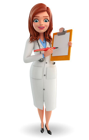 writting: Illustration of Young Doctor with notepad Stock Photo