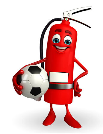 disaster prevention: Cartoon Character of fire extinguisher with football Stock Photo