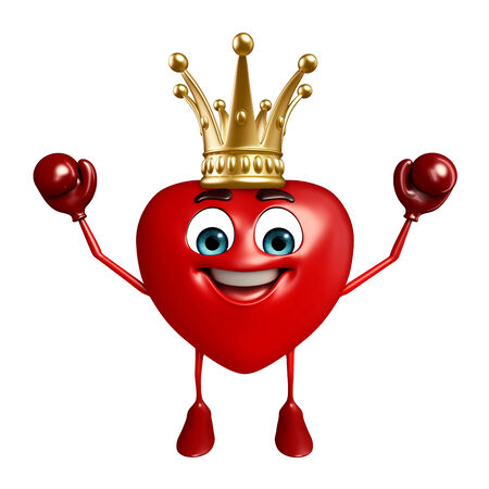 Cartoon Character of heart shape with crown photo