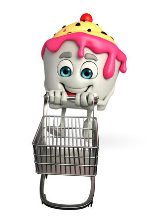 Cartoon Character of Ice Cream with trolley photo