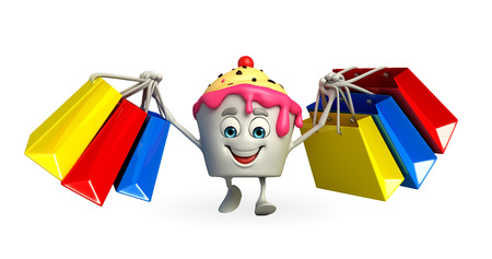 Cartoon Character of Ice Cream with shopping bag photo