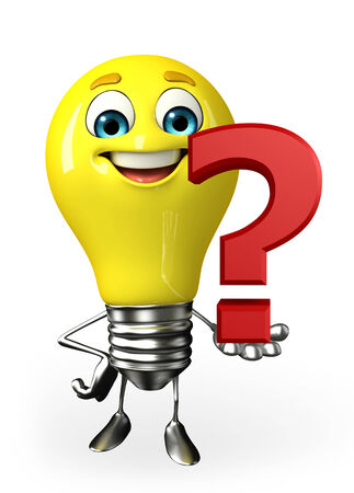 Cartoon Character of light bulb with question mark