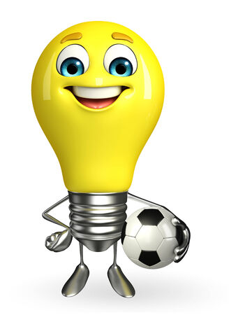 Cartoon Character of light bulb with football photo