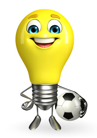 Cartoon Character of light bulb with football