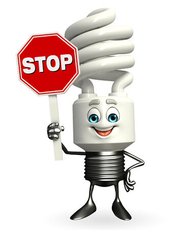 Cartoon Character of CFL with stop sign Stock Photo