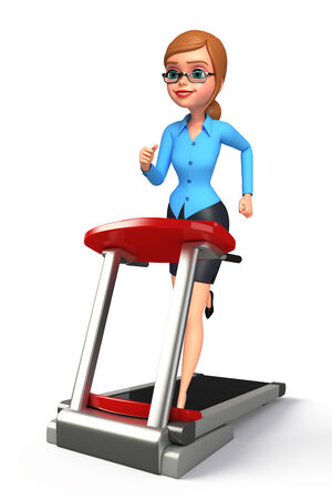 excercise: Illustration of young office girl with walking machine