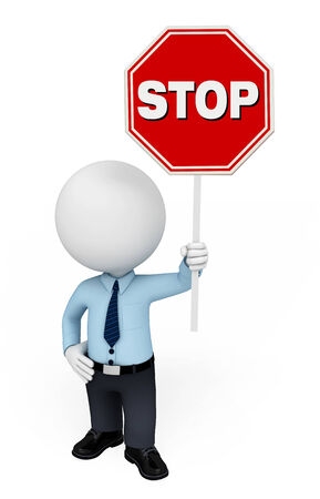 Illustration of service man with stop sign illustration