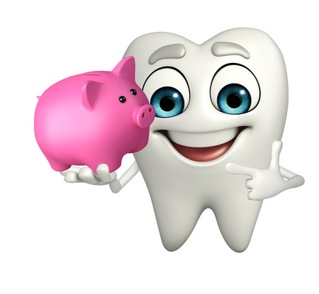 beneficial: Cartoon character of teeth with piggy bank