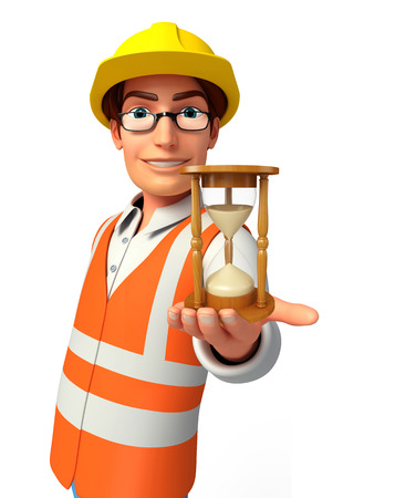 Illustration of young worker with sand clock illustration