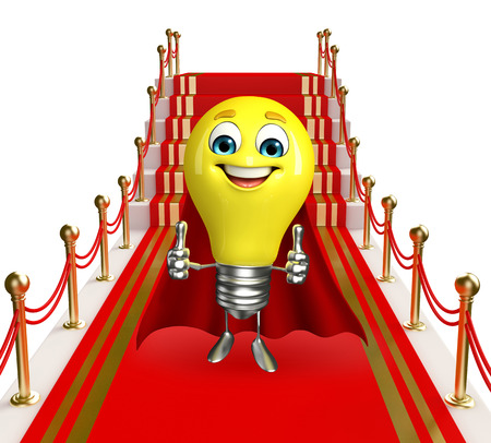 Cartoon Character of light bulb with carpet