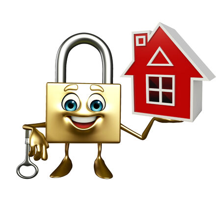 confidentiality: Cartoon Character of lock with home