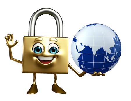 Cartoon Character of lock with globe photo