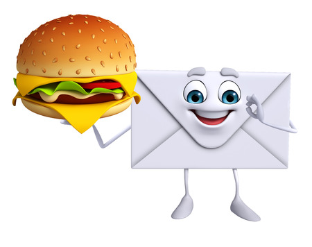 Cartoon Character of mail with burger photo