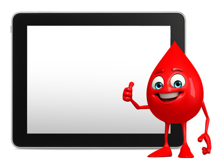 bloodcell: Illustration of blood drop with tablet Stock Photo
