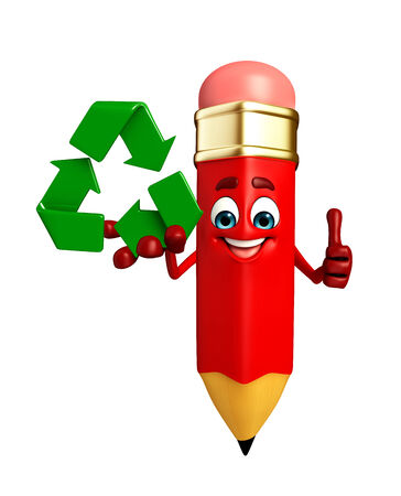 Cartoon Character of pencil with recycle icon photo