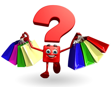 Cartoon Character of Question Mark with shopping bag photo