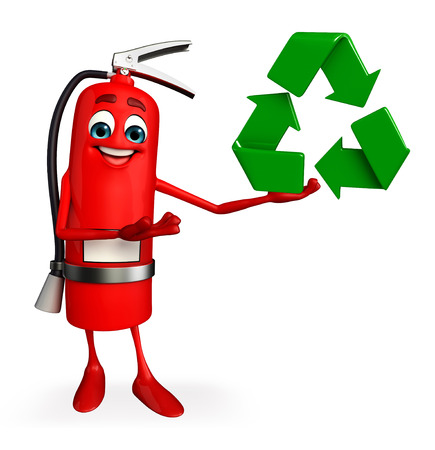 disaster prevention: Cartoon Character of fire extinguisher with recycle icon Stock Photo