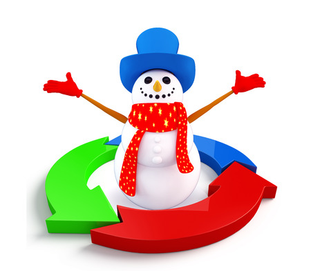 christmas profits: Illustration of snowman character with graph diagram Stock Photo