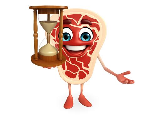 sand clock: Personaggio dei cartoni animati di bistecca di carne con l'orologio della sabbia Archivio Fotografico