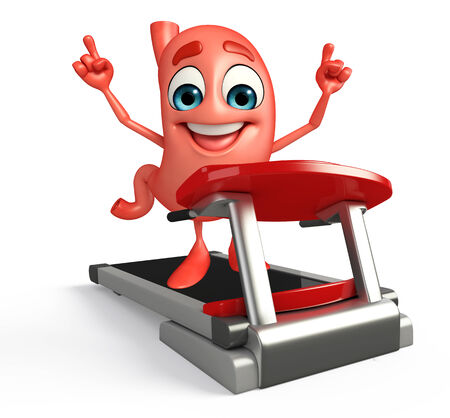 Cartoon Character of stomach with walking machine photo